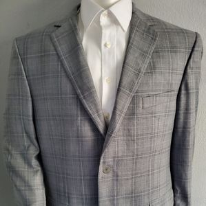 Pronto Uomo Grey & Blue Plaid Wool Sport Coat 46L